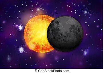 éclipse, fond, constellations, étoiles, réaliste, coloré, pourpre, espace, clair, profond