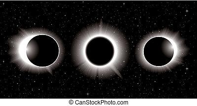 éclipse, illustration, solaire