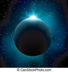 éclipse, lunaire, fond, espace