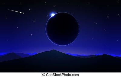 éclipse, paysage, solaire, nuit