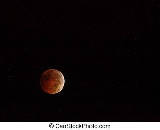 éclipse, rouges, lune