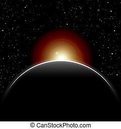 éclipse, soleil, fermé, par, planète