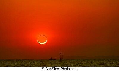 éclipses, ensembles, sur, phénomène, anneau, soleil, diamant, mer