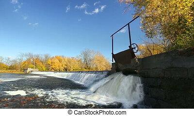 écluse, chute eau, boucle, portail