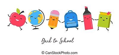école, école, marcher ensemble, dos, sauter, fournitures, heureux