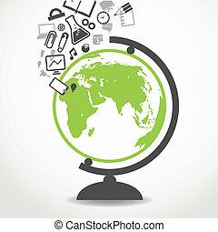 école, écoulement, education, globe, icônes