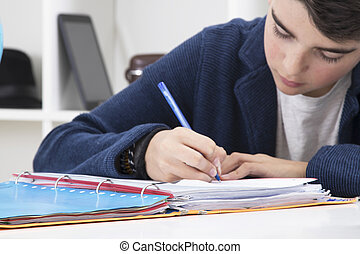 école, écriture, livre, enfant
