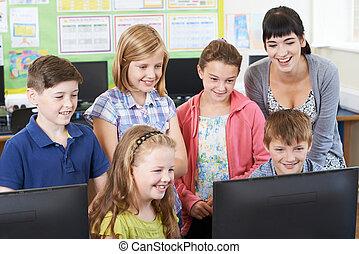 école, élèves, classe, informatique, élémentaire, prof