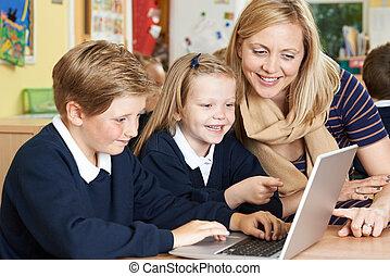 école, élèves, prof, portion, informatique, élémentaire, classe
