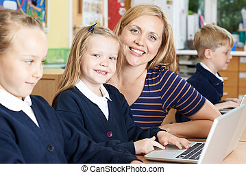école, élèves, prof, portion, informatique, femme, élémentaire, classe