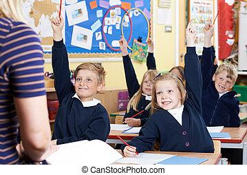 école, élèves, question réponse, élémentaire, classe