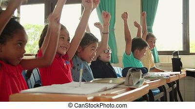 école, élémentaire, heureux, classe, gosses