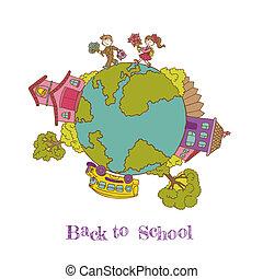 école, éléments, -, dos, illustration, hand-drawn, vecteur, conception, doodles