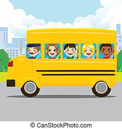 école équitation, gosses, autobus