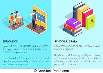 école, étudiants, livre bibliothèque, affiches, education
