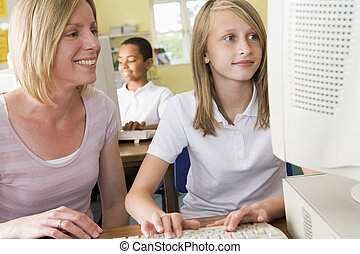école, étudier, écolière, informatique, devant, prof