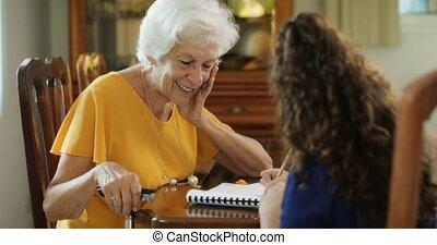 école, étudier, grand-mère, petit-enfant, enseignement, education