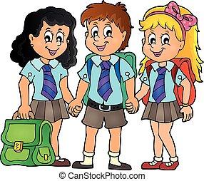 école, 3, thème, image, élèves