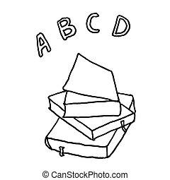 école, abc, contour, croquis, drawing., books., illustration, main, arrière-plan., vecteur, noir, monochrome, blanc