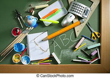 école, abc, tableau noir, dos, vert, planche