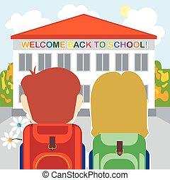 école, accueil, dos, carte