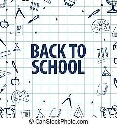 école, accueil, dos, différent, objects., bannière