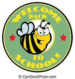 école, accueil, vert arrière, abeille