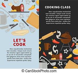 école, affiche, cuisine, chef cuistot, vecteur, maître, classes