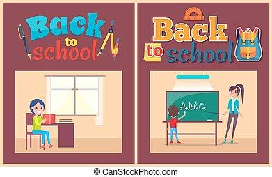 école, affiche, dos, pupille, bureau, prof