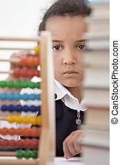 école, américain, africaine, utilisation, girl, abaque, classe
