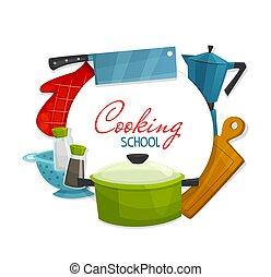 école, appareils, ustensiles cuisine, cuisine