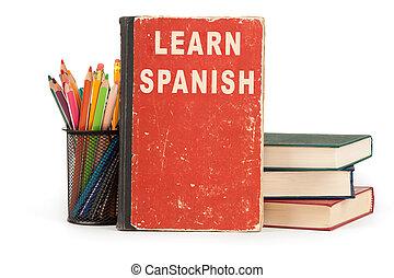 école, apprendre, language., espagnol, fournitures, blanc