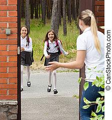 école, après, filles, deux, courant, mère, heureux