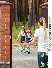 école, après, filles, deux, gai, courant, mère