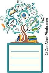 école, arbre, fond