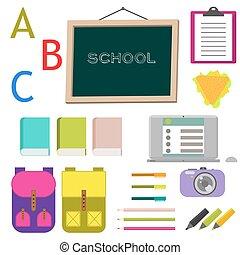 école, art, agrafe, vecteur, fournitures, objects.