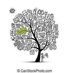 école, art, dessin, arbre, conception, ton