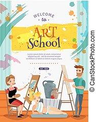 école, art, offre, affiche, visuel, classes