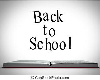 école, au-dessus, ouvert, graphique, livre, dos, message