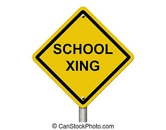 école, avertissement, signe passage clouté