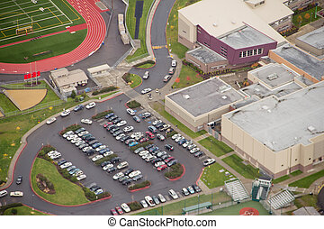 école, bâtiment, et, parking