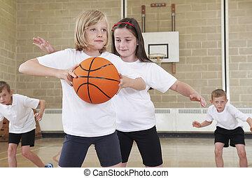 école, basket-ball, élèves, gymnase, élémentaire, jouer