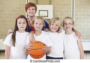 école, basket-ball, filles, prof, équipe