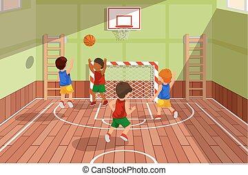 école, basket-ball, gosses, game., jouer, illustration, vecteur, équipe, jouer