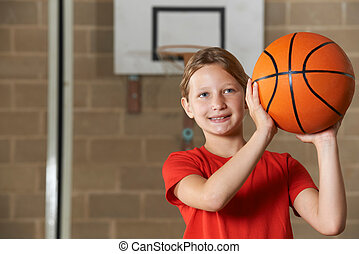 école, basket-ball, tir, gymnase, girl