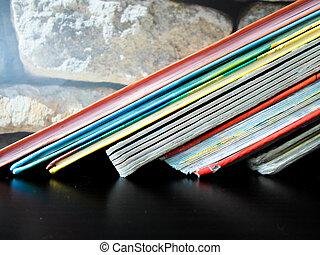 école, beaucoup, shelf., dos, arrière-plan., livres, livre