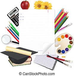 école, bloc-notes, school., dos