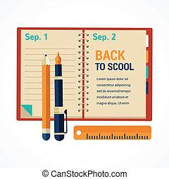 école, cahier, agenda, dos, fond