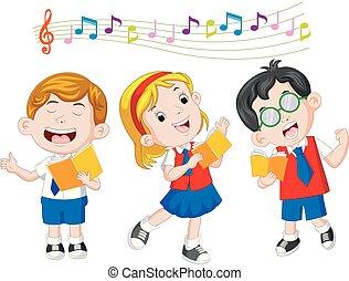 école, chant, enfants
