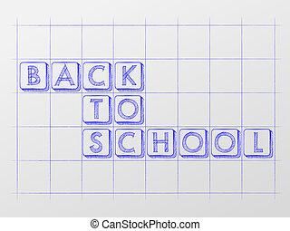 école, checkered, dos, whiteboard